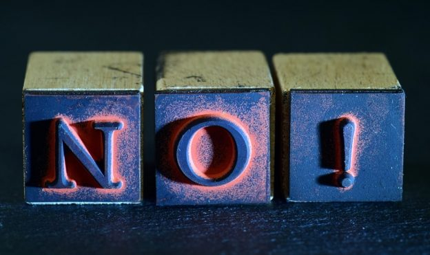the word 'no' in printers wooden blocks